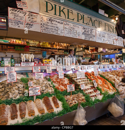 Pike place market fish stock photos pike place market for Fish market seattle