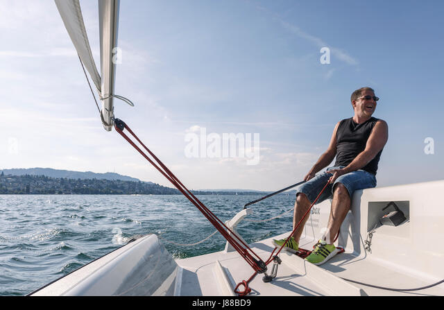 Sailing on Lake Zurich - Stock Image