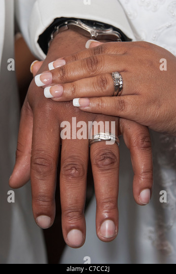 African American Hands With Wedding Rings
