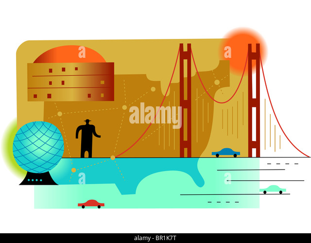 Silhouette Of A Man Standing On A Bridge With The Us Map As Backdrop