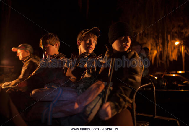 Youth waterfowl hunters at the Bear Island Wildlife Management Area. - Stock Image