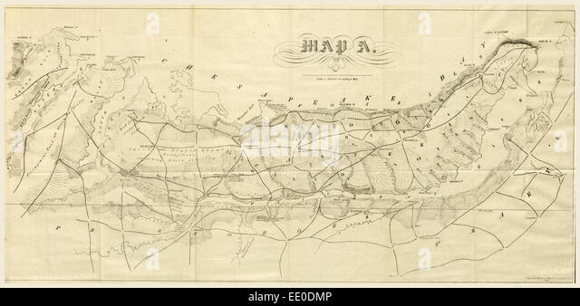 Report On The New Map Of Maryland 1836 19th Century Engraving Us