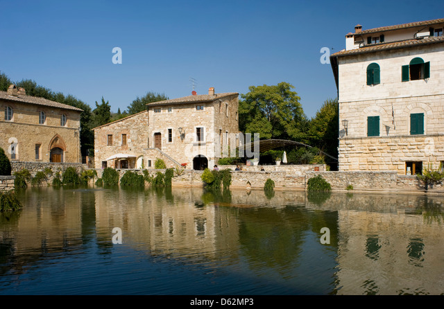a view over the spa pool in bagno vignoni tuscany italy stock image