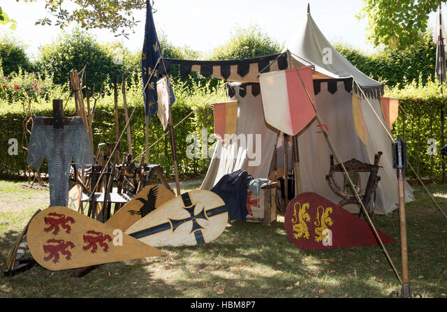 Jousting at Le Rivau - armoureru0027s tent - Stock Image & Jousting Tent Stock Photos u0026 Jousting Tent Stock Images - Alamy