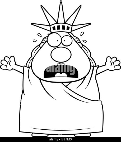 a cartoon illustration of the statue of liberty looking scared stock image