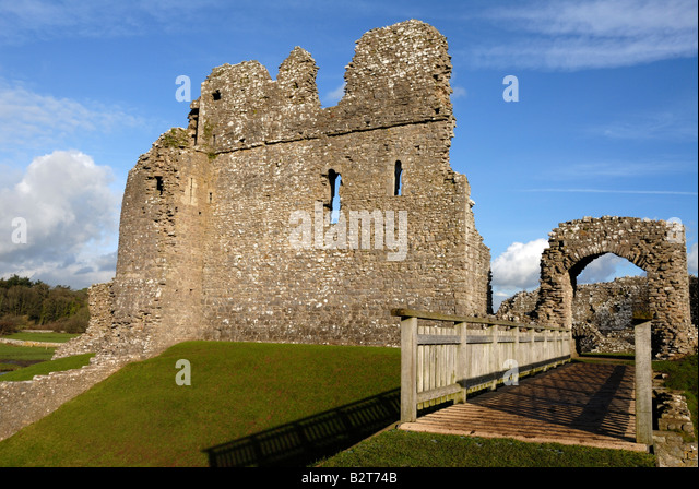 Ogmore castle in the Vale of Glamorgan of South Wales - Stock Image