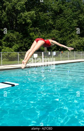 Swimming Pool Convention : Teens show swim pool stock photos