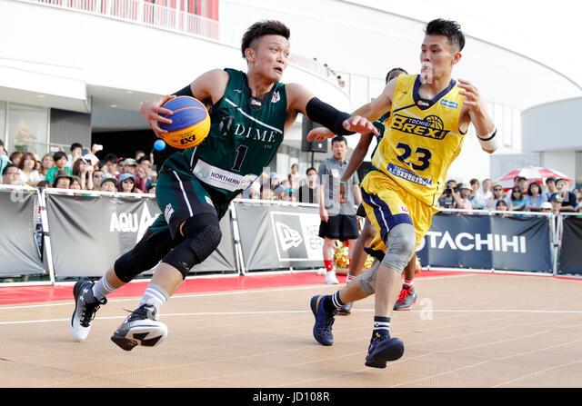 Tokyo, Japan. 17th June, 2017. (L-R) Tatsuhito Noro (DIME.EXE), Toru Kikuchi, (BREX.EXE) Basketball : 33 PREMIER.EXE - Stock Image