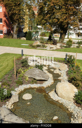 hanggarten creek with pebbles and stones stock image neu gestalten
