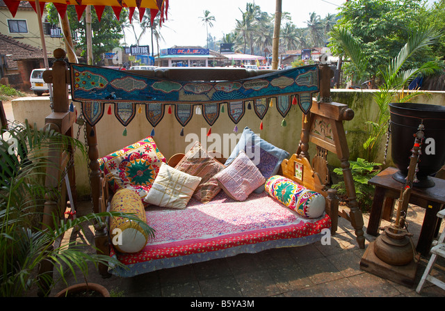 Traditional Indian Furniture At Baga Beach, Goa, India   Stock Image