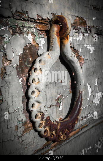 Antique Portal With Beautiful, Ornate Door Knocker, Landscape, Detail.    Stock Image