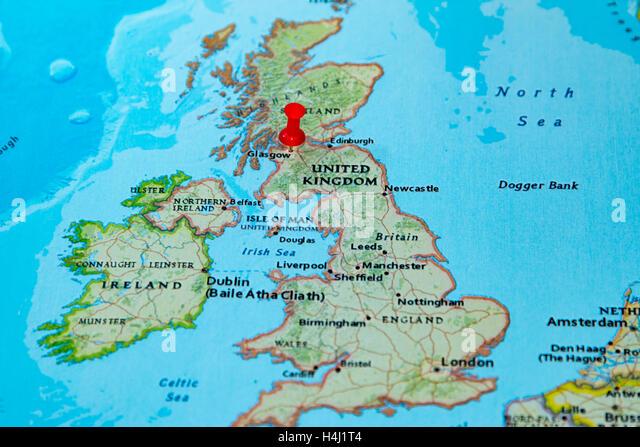 United kingdom political map stock photos united kingdom glasgow scotland pinned on a map of europe stock image gumiabroncs Choice Image