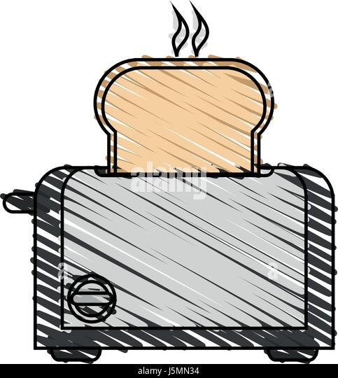 toaster clipart black and white. color crayon stripe cartoon electric bread toaster - stock image clipart black and white