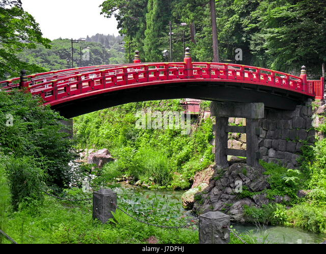 garden bridge traditional japanese japan rural red river water peasant culture stock image