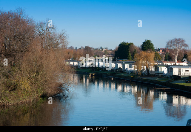 A Caravan Park By The River Avon In Evesham Worcestershire England