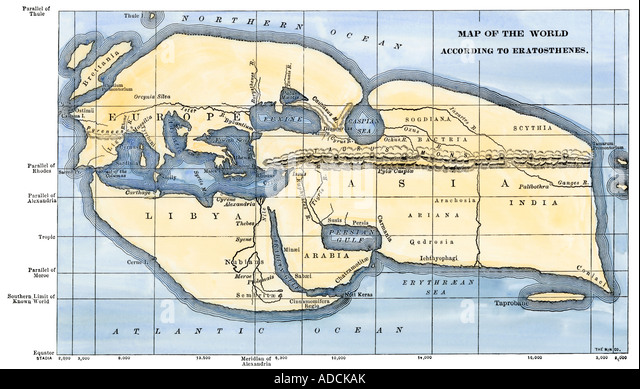 Ancient world map stock photos ancient world map stock images map of the world according to ancient greek geographer eratosthenes stock image gumiabroncs Image collections