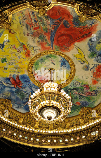 Interior Crystal Chandelier And Ceiling Painting Apollo With The Lyre By Marc Chagall
