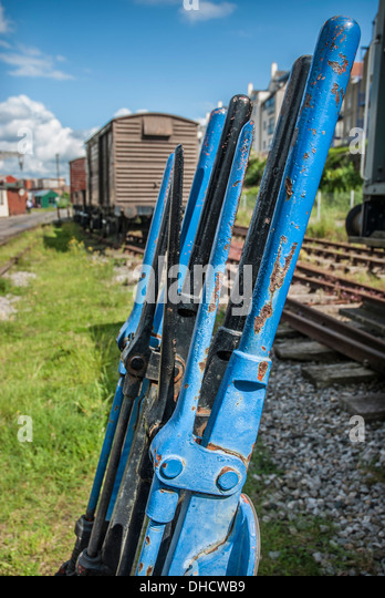 Lever Train Track : Railway points lever stock photos