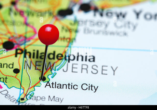 Atlantic City Pinned On A Map Of New Jersey Usa Stock Image