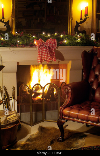 1800s Country Homes: Leather Chair Fireplace Stock Photos & Leather Chair