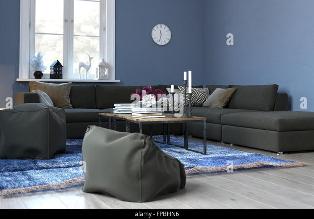 Cozy Blue Living Room with Sectional Sofa and Plush Bean Bag Chairs - Modern Blue Sitting : bean bag sectional - Sectionals, Sofas & Couches