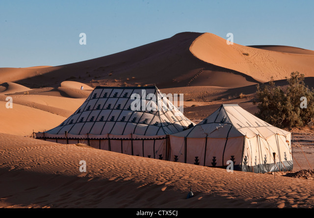 tents at a luxury desert c& in the Sahara at Erg Chigaga Morocco - Stock & Tents In A Desert Stock Photos u0026 Tents In A Desert Stock Images ...