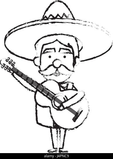 mexican mariachi with guitar avatar character stock image