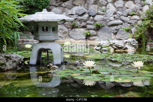 Taniguchi Japanese Garden Pond In The Zilker Botanical Garden In Austin,  Texas   Stock Image