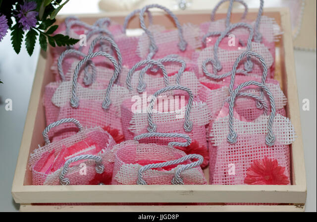 Detail of memories in children's party, baby shower girl. - Stock Image