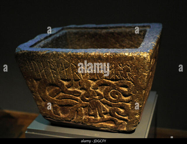 Paleo-Christian Era. Baptismal font with the inscription 'Sven made me' and a relief depicting Gunnar in - Stock Image