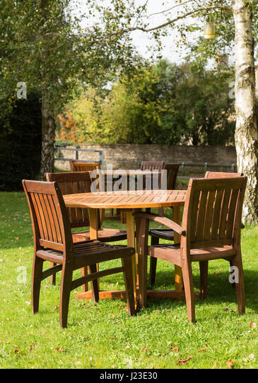 garden furniture tables and chairs stock image