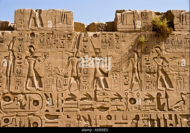 Karnak temple egypt reconstruction stock photos