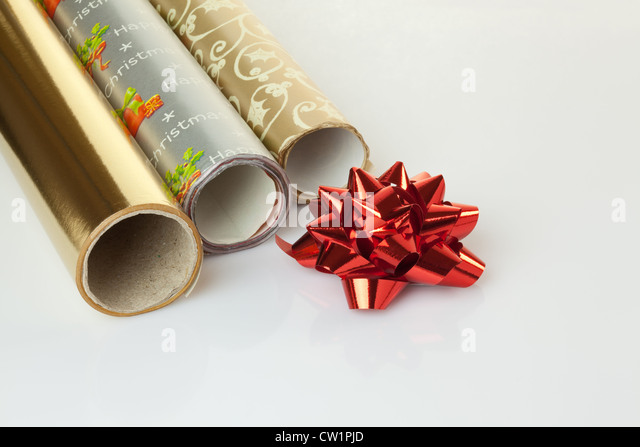Wrapping paper rolls stock photos wrapping paper rolls for Decorative paper rolls