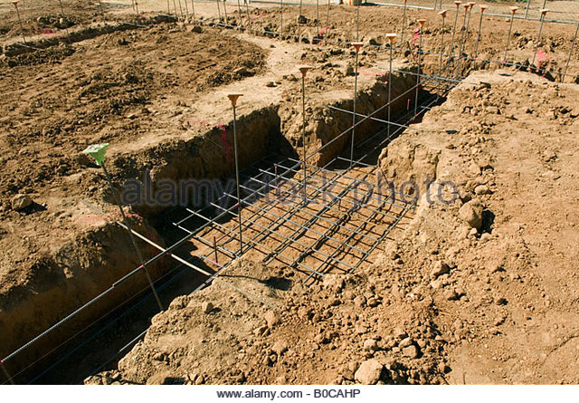 Foundation Trenches With Steel Rebar New Home Construction