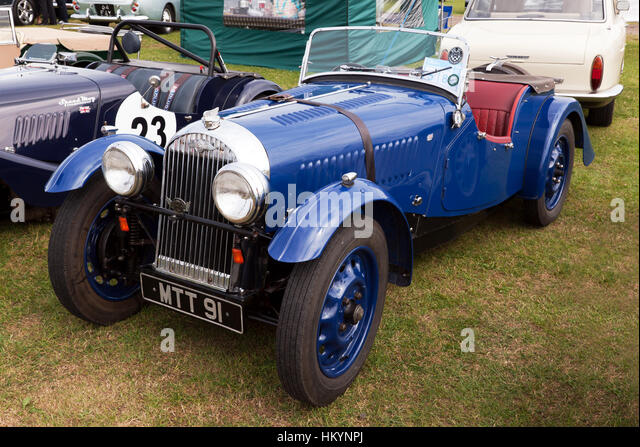 a blue series 1 1950 morgan 44 on display in the