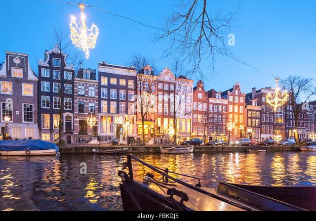 Amsterdam Winter Night Stock Photos Amsterdam Winter