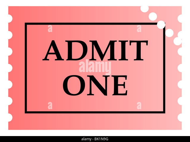 Admit One Pink Ticket Template With Copy Space, Isolated On White  Background.   Stock  Admit One Template