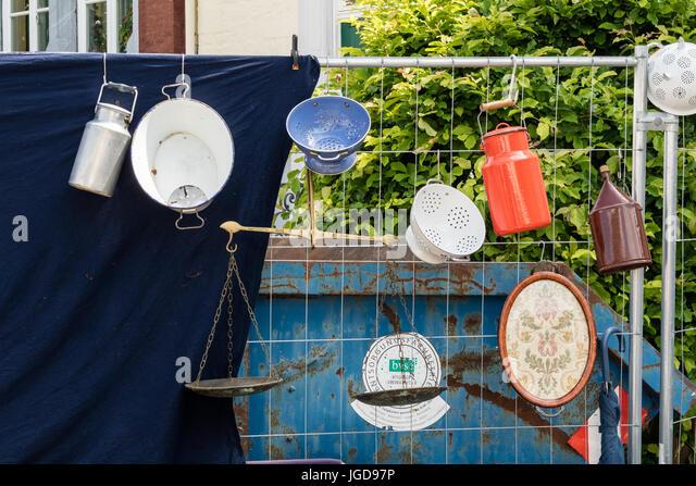 KORNELIMUENSTER, GERMANY, 18th June, 2017 - sieves and milk jugs for sale on the historic fair of Kornelimuenster - Stock Image