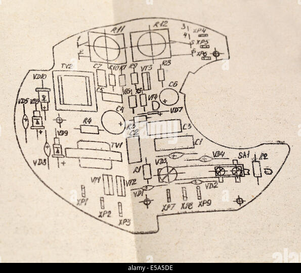 Circuit board blueprint stock photos circuit board blueprint a schematic drawing good background stock image malvernweather Images