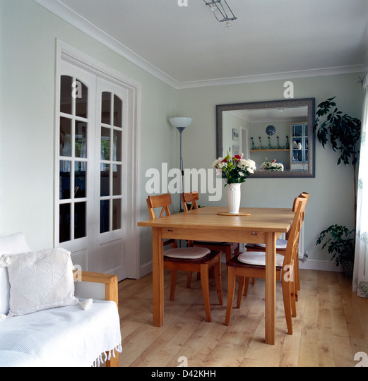 Simple Wood Table And Chairs In White Dining Room Extension With Wooden Flooring Sofa