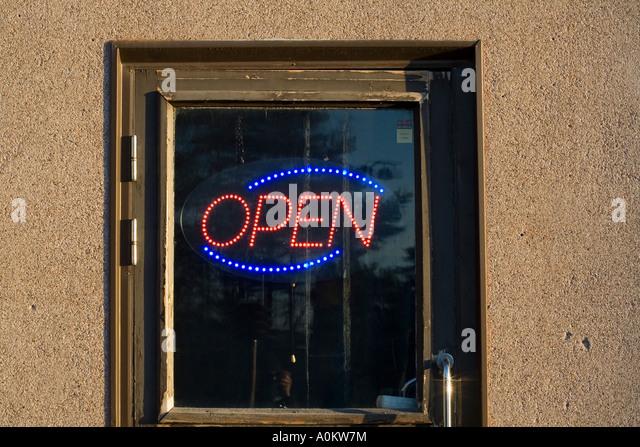 Bar open neon light in door window - Stock Image & Open Neon Sign Nightlife Stock Photos \u0026 Open Neon Sign Nightlife ... Pezcame.Com