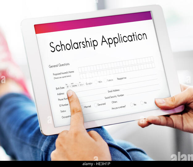 Scholarship Application Document Contract Form Stock Photos