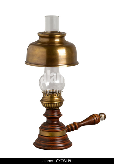 Antique Oil Lamp, Isolated On White   Stock Image