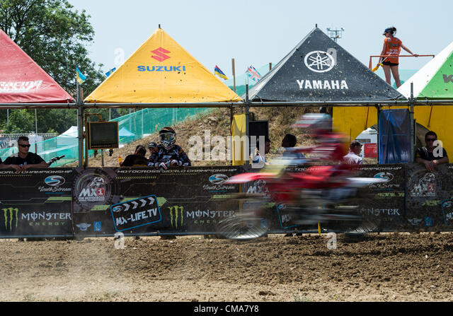 Unidentified rider passes the service boxes at the Motocross World Ch&ionship 2012 MX3 free practice in & Motocross Cycle Stock Photos u0026 Motocross Cycle Stock Images - Alamy