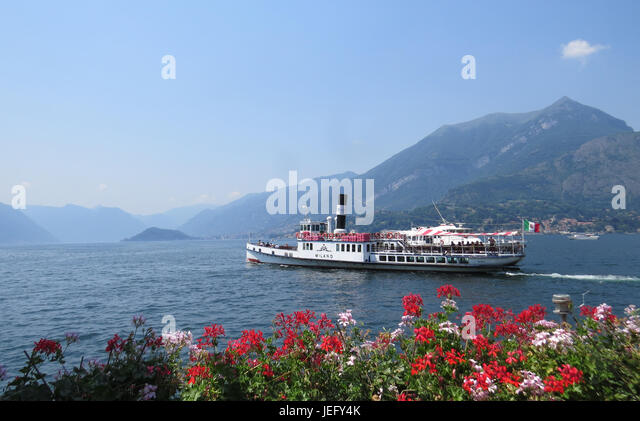 LAKE COMO, Italy, with the vintage steam ferry Milano heading south. Photo: Tony Gale - Stock Image