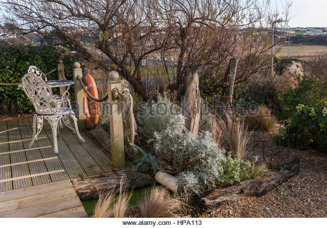 Driftwood Garden In Winter   Stock Image