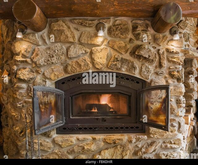 Fireplace Rock rock fireplace stock photos & rock fireplace stock images - alamy