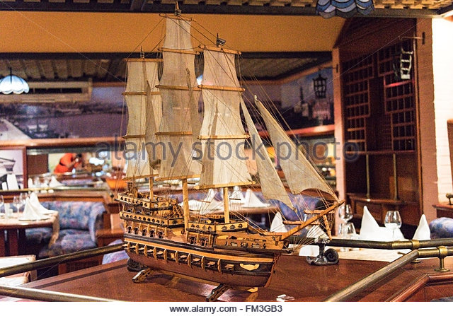 comodoro hotel miniature sail ship replica decorating the restaurant stock image - Galley Hotel Decorating