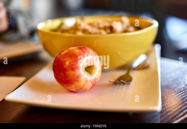 Apple on a white plate with a fork and salad bowl with shallow depth of field & Bacon Lettuce And Tomato Sandwich Tomato Soup Stock Photos \u0026 Bacon ...