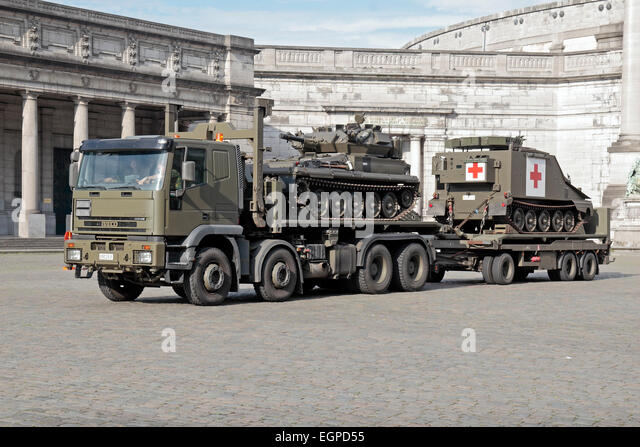 Alvis scorpion and tracked medical vehicle in brussels belgium